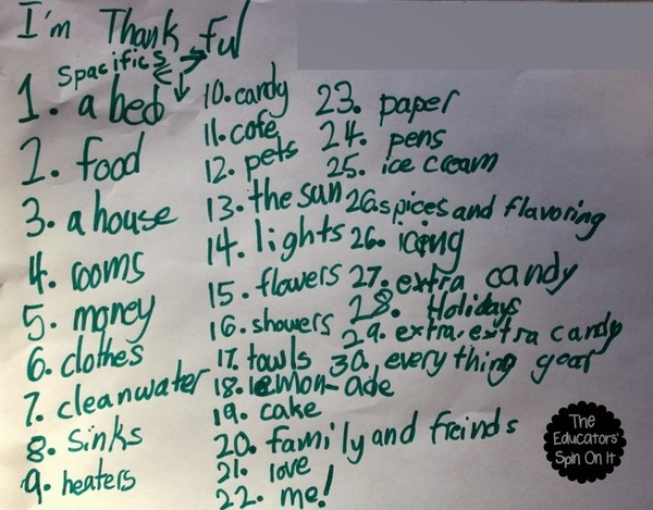 Thanksgiving things to be thankful for list