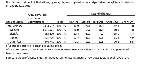 The interracial crime data are