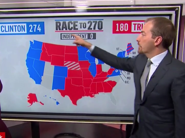 Msnbc Political Map.Chuck Todd Electoral Map Trump Has To Win Pa Mi Or Wi The Comey
