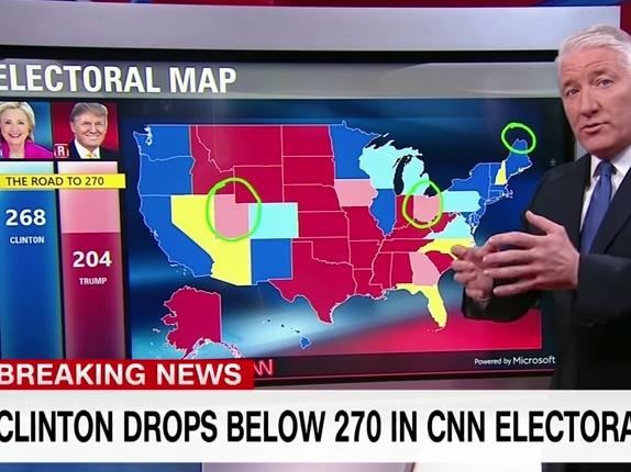 New CNN Electoral Map: Hillary Clinton Drops Below 270   Video ...