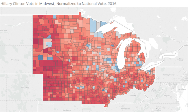 How Trump Won The Midwest RealClearPolitics - Sea of red map showing how us counties voted
