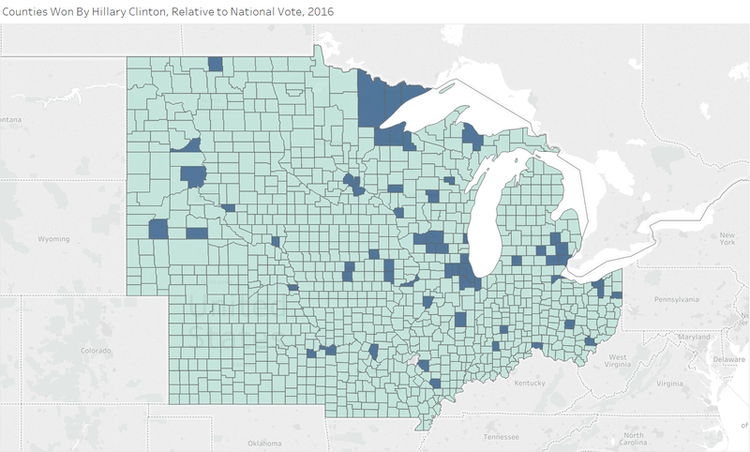 Michigan And Wisconsin In Some Detail But Outside Of Those States We Can See That The Democratic Coalition Has Been Reduced To Two Counties With